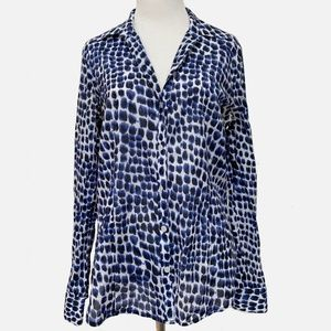 Michael Kors Women's Blue White Blouse Shirt Top